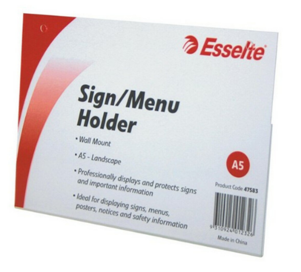 Picture of Esselte Sign/Menu Holder Wall/Mnt L/S A5