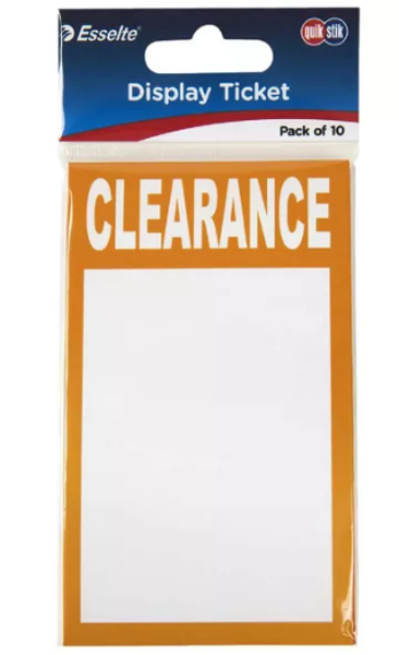 Picture of Quikstik Display Tickets Clearance 10 pk