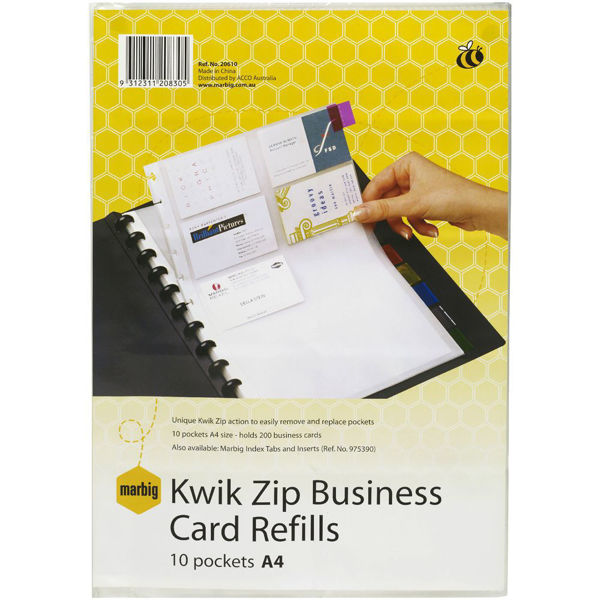 Picture of BUSINESS CARD BOOK REFILLS KWIK ZIP A4 2